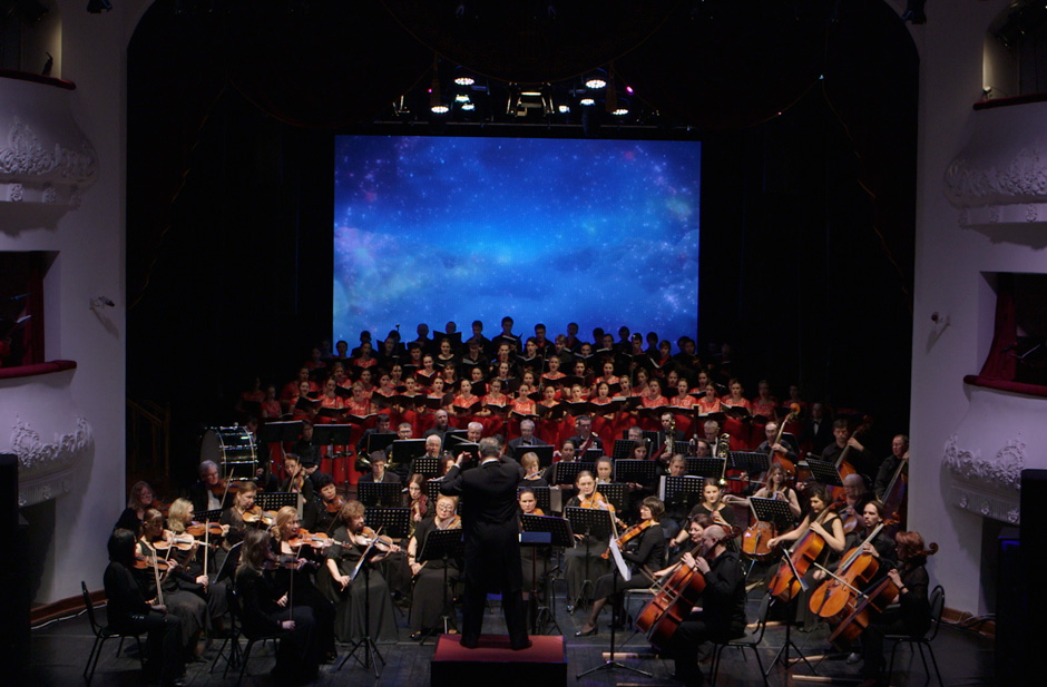 "Pacific Symphony Orchestra and Choir performing in Marios Joannou Elia's ""Sound of Vladivostok"" (c) Primorye Regional Philharmonic Society"